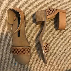 """2"""" block heel leather sandals"""