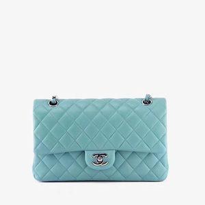 Authentic Chanel Tiffany Blue CF lambskin