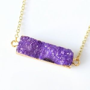 Gold-plated agate druzy bar necklace