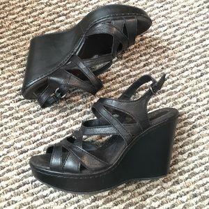 Born Black leather wedges
