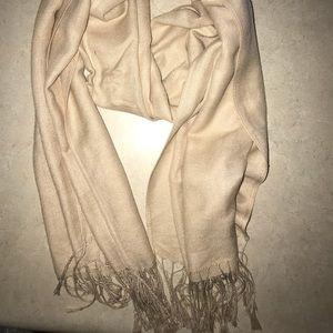Tan fringe scarf
