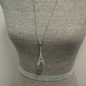 Beautiful  long silver necklace!!