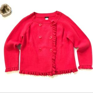 J.Crew Katie Ruffle Jacket red Cardigan Sweater L