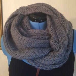 Knit Chunky cable Sparkly Gray Scarf