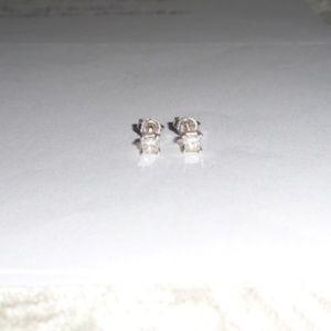 New .40 Carat VS1/F Princess Cut Diamond Earrings