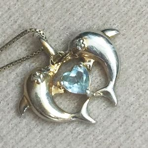 QVC Sterling Dolphins Heart Gemstone Necklace