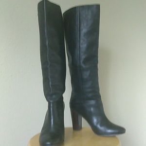 Black Leather Coach Heeled Boots
