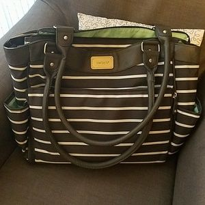 Carter's gray and white striped diaper bag