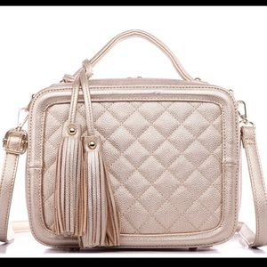 Gold quilted box satchel!