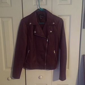Forever 21 burgundy faux leather jacket