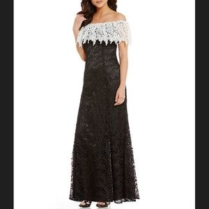 NWT Tahari ASL Off-The-Shoulder Lace Gown