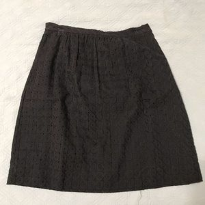 J. Crew eyelit pattern navy skirt
