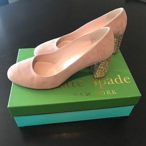 885fe1e7a0a0 ... Kate Spade Anastasia Fawn Suede Gold Glitter Heel ...