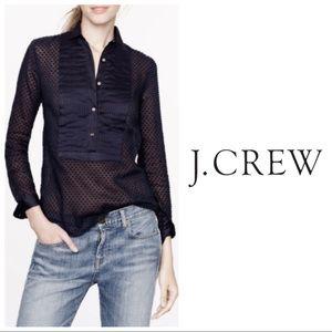 J. Crew Swiss Dot Tuxedo Shirt in Black