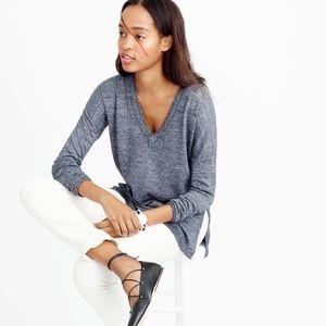 J.Crew Merino Wool Linen V-neck Marled Sweater