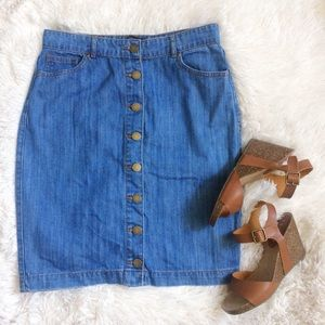 FOREVER21 blue front button down denim jean skirt