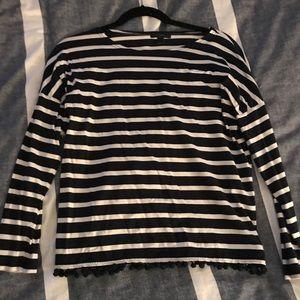 J crew Pom Pom stripe top size small
