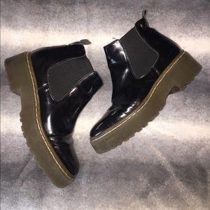 Black patent platform boots