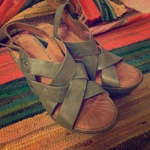 Born Green Leather Wedges