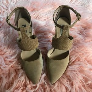 Steve Madden tan suede cutout pointed toe heels