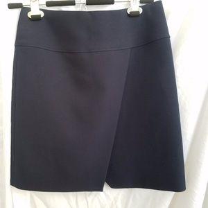 J Crew navy crossover wrap mini skirt, sz 0