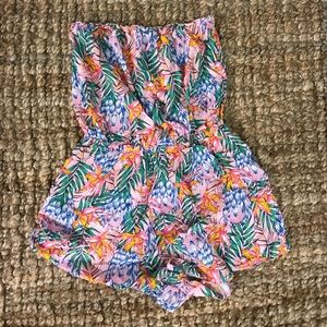 Tropical Floral Strapless Romper