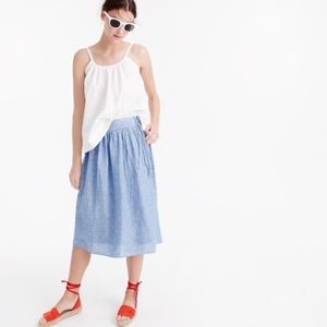 J. Crew Easy Linen Midi Skirt with Ties Zip F3421