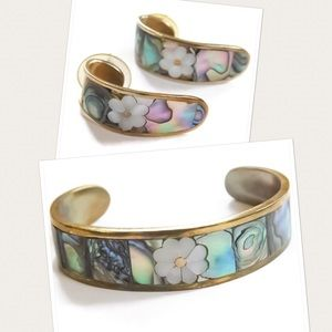 VTG Abalone Bangle/Earrings Set