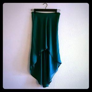 Kelly green high low skirt