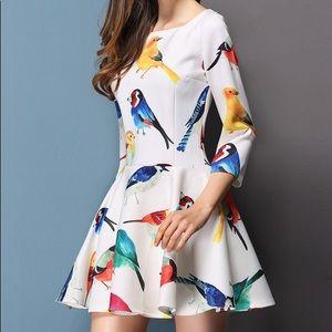 Bird print, quarter sleeve dress