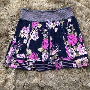 Charlotte Russe Floral Elastic Waist Skirt