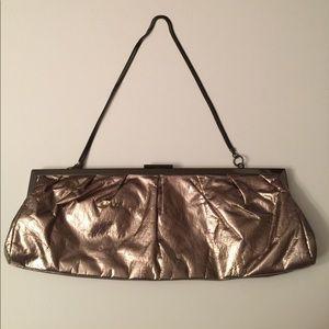 Aldo Metallic Clutch Evening Bag with Metal Strap