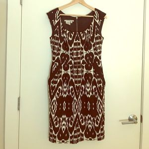 Black and White Ikat Tribal Print Cocktail Dress