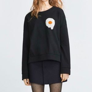 Zara Black With Egg Yolk Sweatshirt