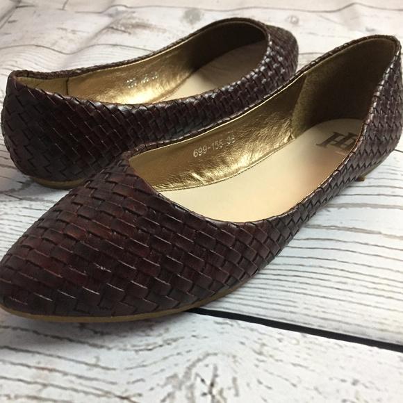 Maroon Weaved Casual Slip On Flats Women's NEW