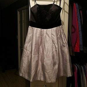 Max & Cleo dress silver black strapless size 4