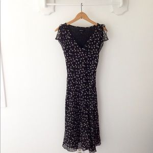 Express Black Floral Midi Dress size 3/4