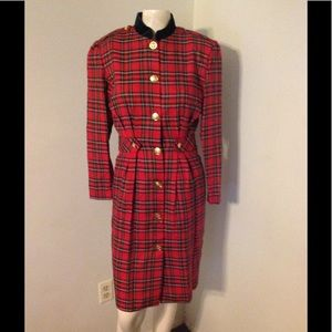 Vintage Red Plaid Military Style Dress 4