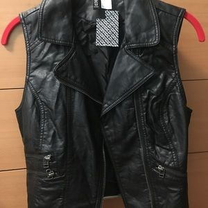 H&M Black Leather Vest Size 4