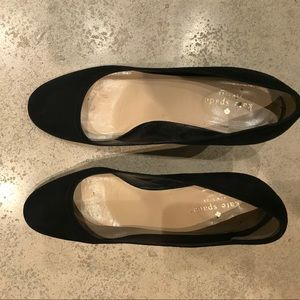 Kate Spade Black suede wedge shoes size 9 1/2