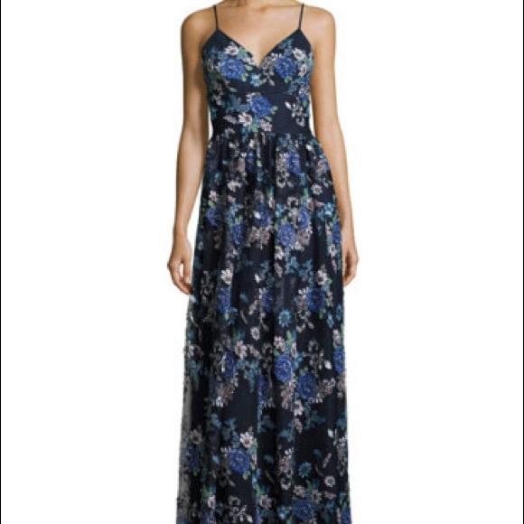 Nicole Miller Dresses Formal Gown Navy W Floral Appliqu Poshmark