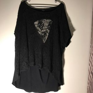 Tops - Sexy see thru front, slouchy back black shirt