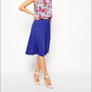 ASOS Blue Midi Skater Elastic Waist Skirt