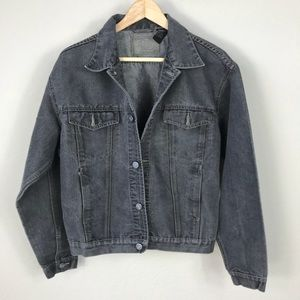 Vintage 90s grunge grey denim trucker jean jacket