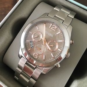 Fossil silver stainless steel link watch NIBWT