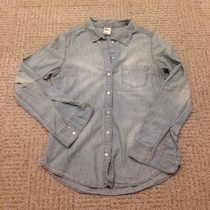 Light blue denim button down top, size 8, H&M