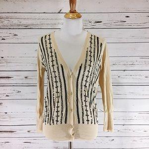 {J. CREW} Pima Cotton Sequin V-Neck Cardigan