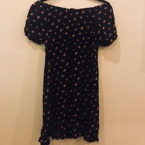Black Floral Ruched Dress