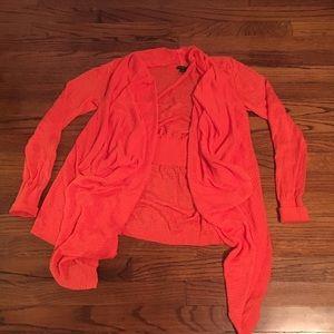 Vibrant Orange Linen waterfall Cardigan