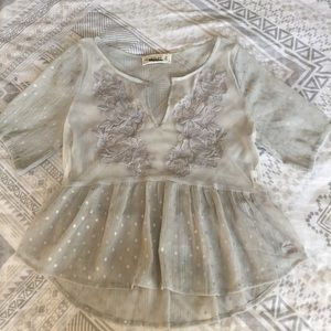 Abercrombie & Fitch cropped sheer gray floral top